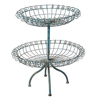 Midwest CBK Decorative Distressed Blue Two-Tier Basket