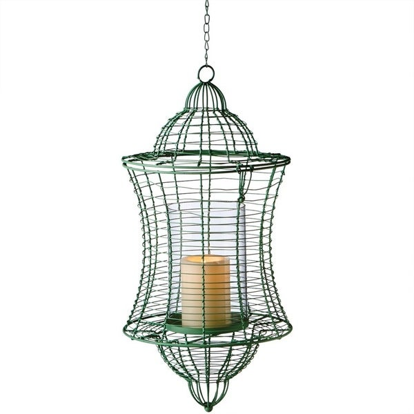 Midwest CBK Large Green Pillar Wire Candle Lantern