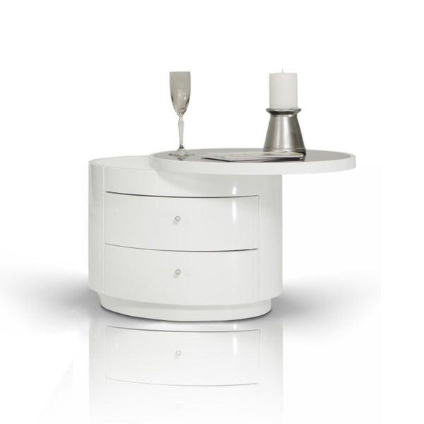 Modrest Symphony White Round Nightstand