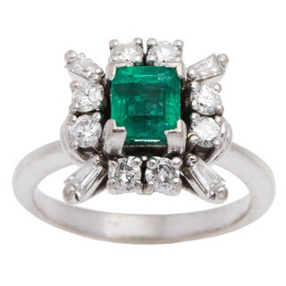 18k White Gold 1/2ct TDW Emerald Cocktail Ring (G-H, SI1-SI2) (Size 5.75)