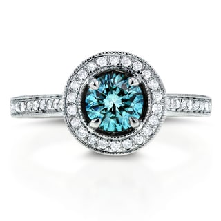 Annello 14k White Gold 1 ct TDW Fancy Blue Halo Diamond Ring (G-H, SI1-SI2)