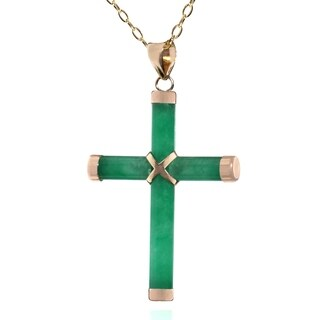Pori 14k Yellow Gold Jade Cross Necklace