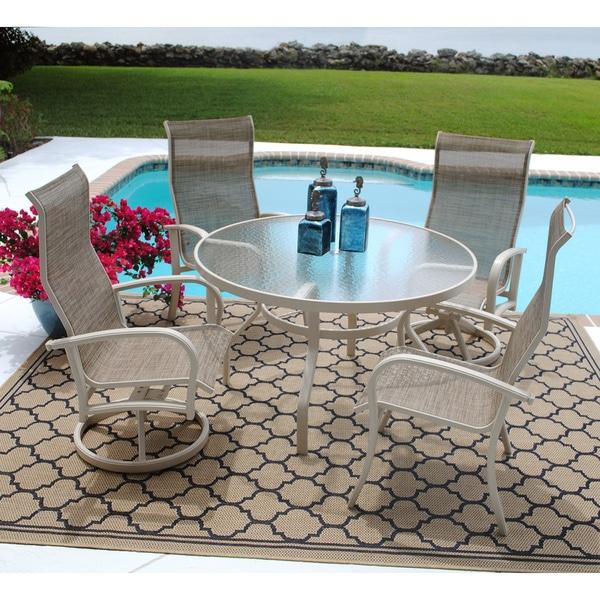 Bayshore Textured Neutral 5-piece Dining Set