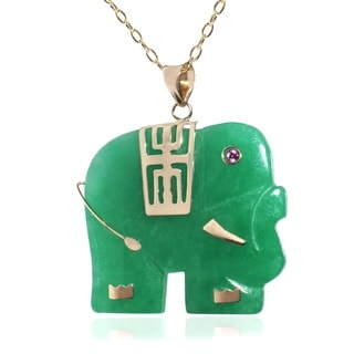 Pori 14k Yellow Gold Jade Elephant Necklace