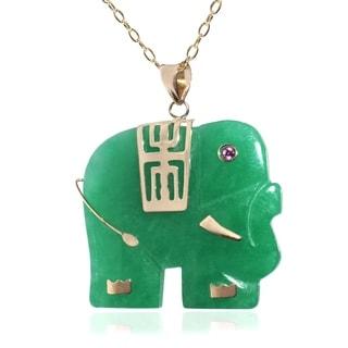 14k Yellow Gold Jade Elephant Necklace