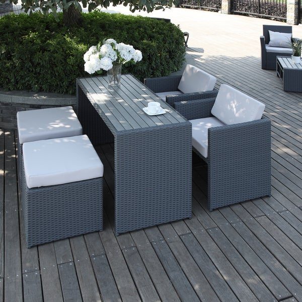 5 piece dining seating patio deck set chairs ottoman table