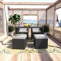 Portfolio Aldrich Grey Indoor/Outdoor Resin Wicker 5-piece Dining/Seating Combo Set