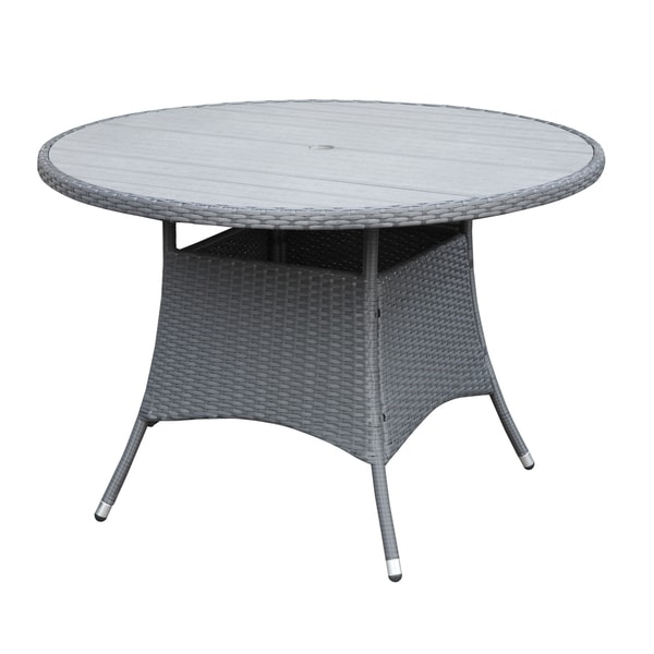Details about Grey Indoor Outdoor Round Dining Table Patio Furniture ...