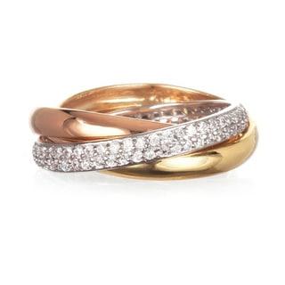Tri-Color Cubic Zirconia 3-piece Interlocked Band Ring Set