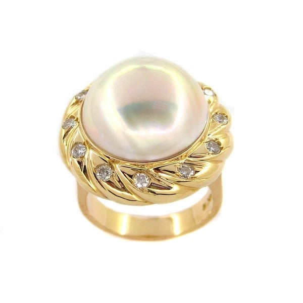 Kabella 14k Yellow Gold Mabe Pearl 2/5ct TDW Diamond Ring (G-H, SI2-I1)(16mm)