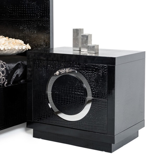 Modrest A&X Ovidius Modern Black Crocodile Nightstand