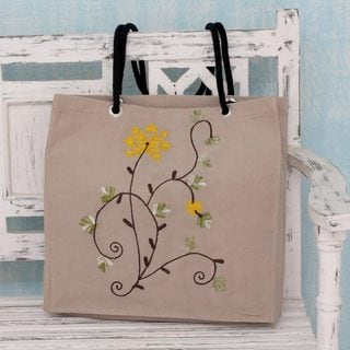 Cotton 'Yellow Blossoms' Shoulder Bag (India)