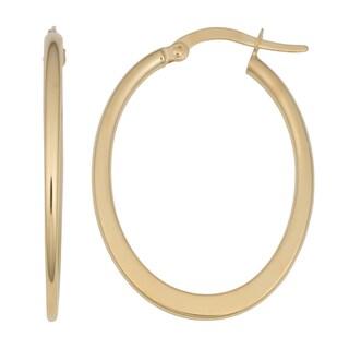 Fremada 14k Yellow Gold High Polish Oval Euro Hoop Earrings