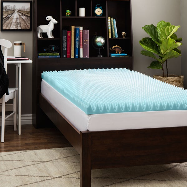 Slumber Solutions Dorm 3-inch Textured Gel Memory Foam Mattress Topper