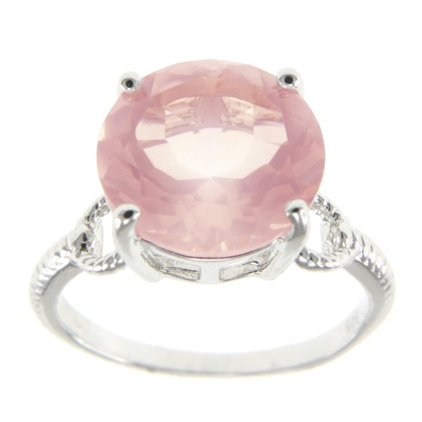 Sterling Silver Rose Quartz Solitaire Ring