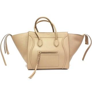 """Celine 'Phantom"""" Beige Smooth Leather Medium Luggage Tote Bag"""