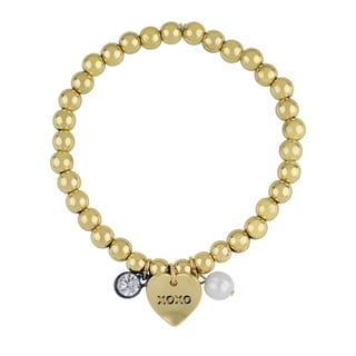 Roman Love Heart Sentiment Gold-Tone Stretch Beaded Charm Bracelet