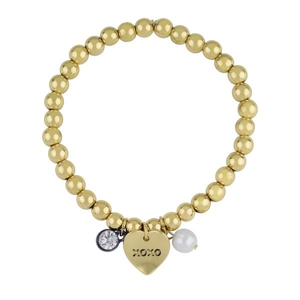 Roman Love Heart Sentiment Gold-Tone Stretch Beaded Charm Bracelet