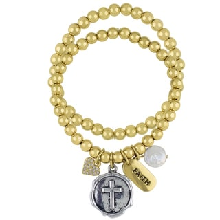 Roman Cross Sentiment 2-Row Gold-Tone Stretch Beaded Charm Bracelet