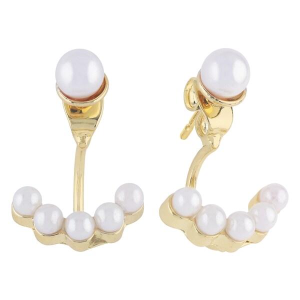Roman Duets Faux Pearl Goldtone Front-Back Dangle Earrings