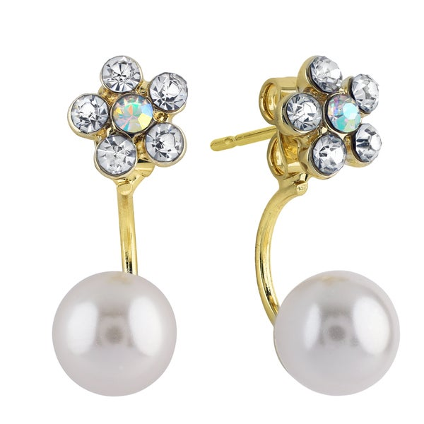 Roman Duets Faux Pearl Crystal Flower Front-Back Dangle Earrings