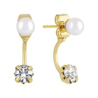 Roman Duets Faux Pearl Crystal Front-Back Stud Drop Earrings