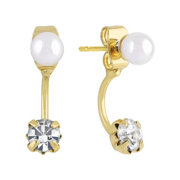 Roman Duets Faux Pearl Crystal Front-Back Stud Drop Earrings