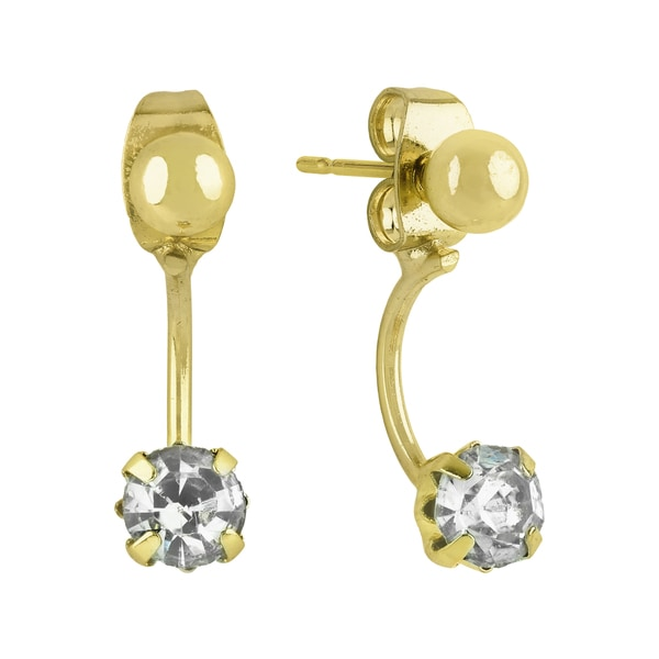 Roman Duets Front-Back Crystal Ball Stud Drop Earrings