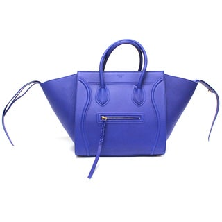 Celine 'Phantom' Royal Blue Smooth Leather Medium Luggage Tote Bag