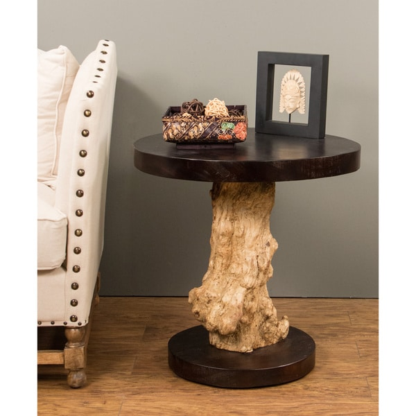 Ambrose Brown Round Side Table