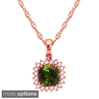 Beverly Hills Charms 10k Gold Green Tourmaline Diamond Accent 'Lady D' Halo Necklace
