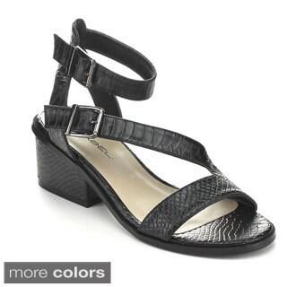 C Label WHITTY-1 Women's Ankle Strap Crocodile Chunky Heel