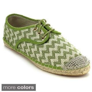 C Label ADLER-8 Women's Braided Toe Wave Lace Up Espadrille Sneaker