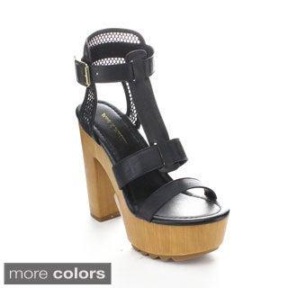 Mark & Maddux BENJAMIN-09 Women's Open Toe Strap Platform Heels
