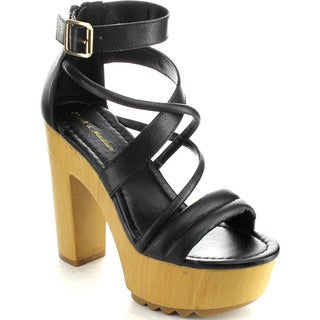 Mark & Maddux BENJAMIN-10 Women's Open Toe Platform Chunky Heels