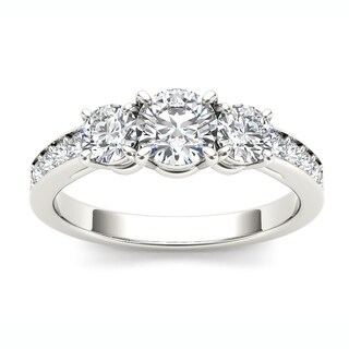 De Couer 14k White Gold 1 1/4ct TDW Diamond Three Stone Engagement Ring (H-I, I2)
