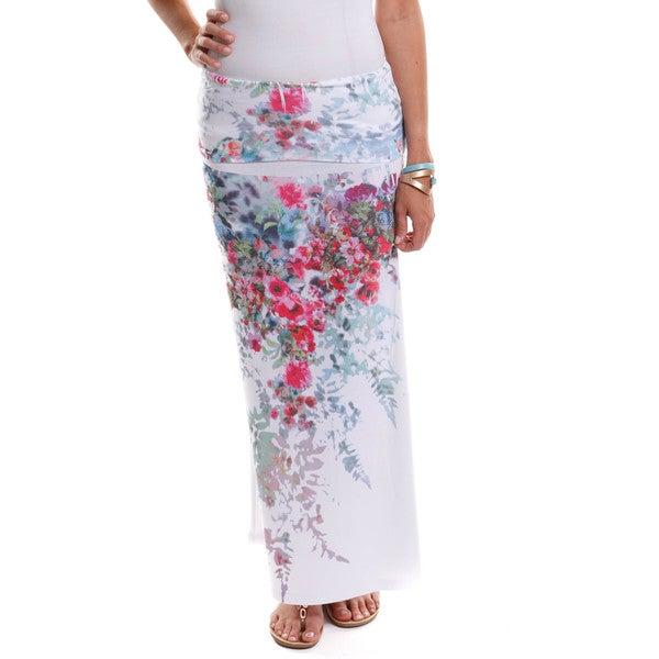 Hadari Women's Floral Print Maxi Skirt