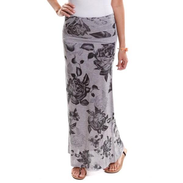 Hadari Womens Rose Print Maxi Skirt