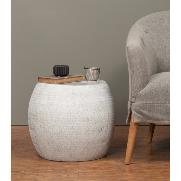 Colby Modern Off-White Round Accent Table