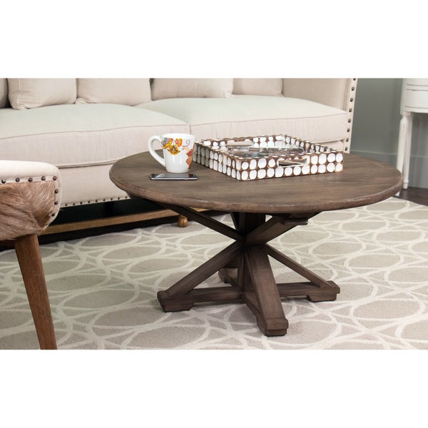 Safavieh Corey Antique Copper Coffee Table: Iola Rustic Brown Round Coffee Table