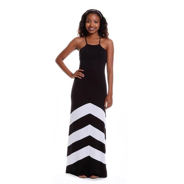 Hadari Women's Halter Color-Block Maxi Dress