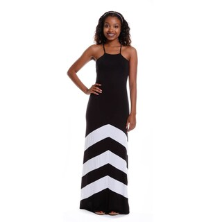 Hadari Women's Halter Color-Block Maxi Dress