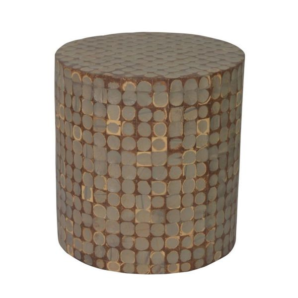 Ottawa Geometric Brown Round Side Table