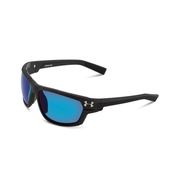 Under Armour Hook'd Satin Black, Blue Mirror Polarized Sunglasses 15380456
