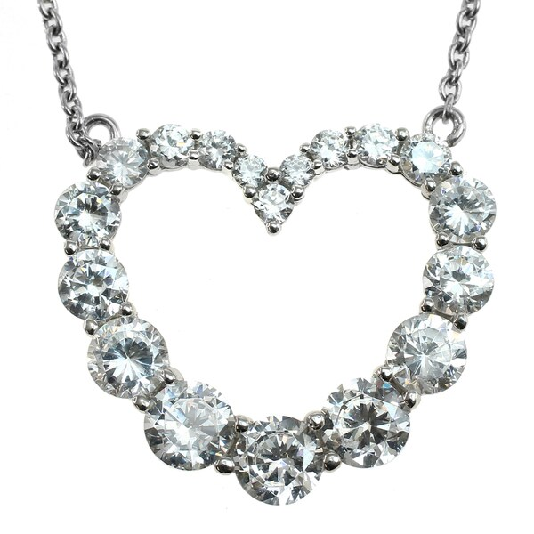 Michael Valitutti Silver Cubic Zirconia Heart Pendant