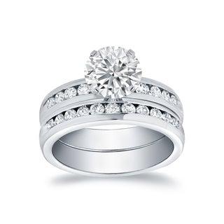 Auriya 14k White Gold 1 1/2ct TDW Channel Ring Bridal Set (H-I, SI1-SI2)