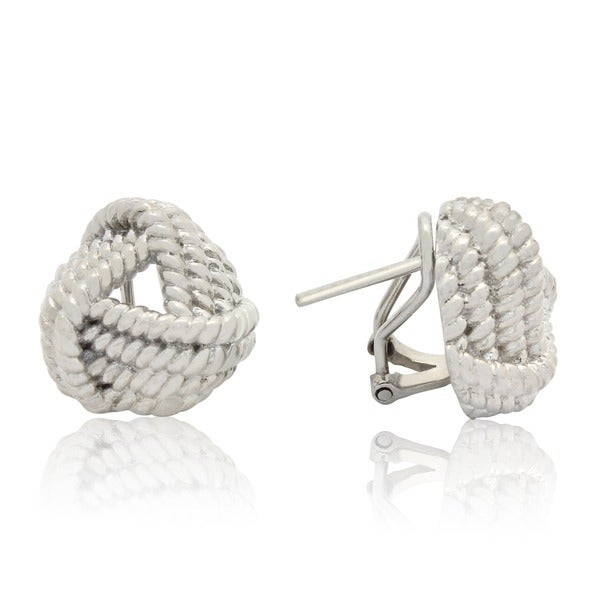 Gioelli Sterling Silver Twisted Rope Love Knot Earrings