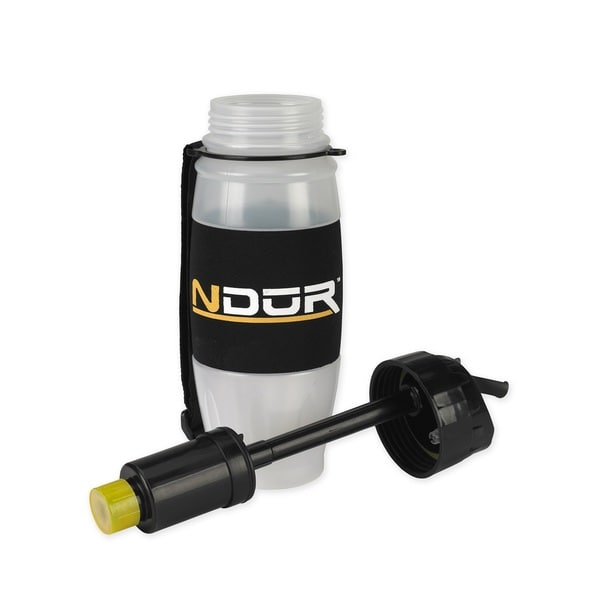 NDuR 28-ounce Flip Top Filtration Bottle Clear with Black Cap