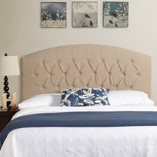 Humble + Haute Stratton Ivory Linen Tall Full Tufted Upholstered Headboard