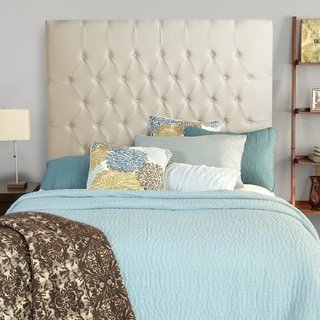 Humble + Haute Halifax Ivory Linen Tall Full Diamond Tufted Upholstered Headboard